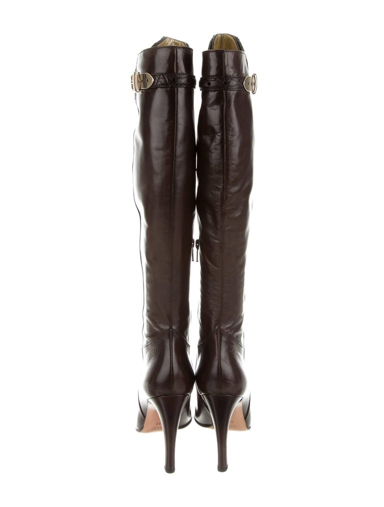New Gucci Alligator and Leather Boots Rare Fall Winter 2005 Sz 6.5 For Sale 6
