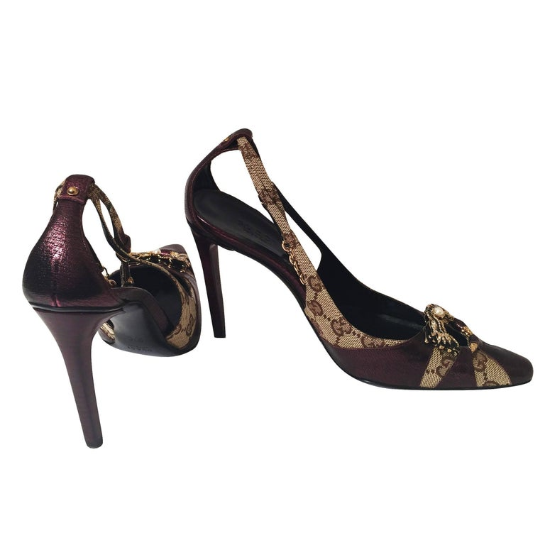 Women's New Tom Ford for Gucci Dragon Ad Runway Heels Pumps Sz 37 For Sale