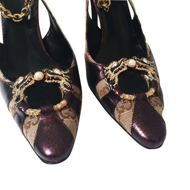 New Tom Ford for Gucci Dragon Ad Runway Heels Pumps Sz 37 For Sale 6