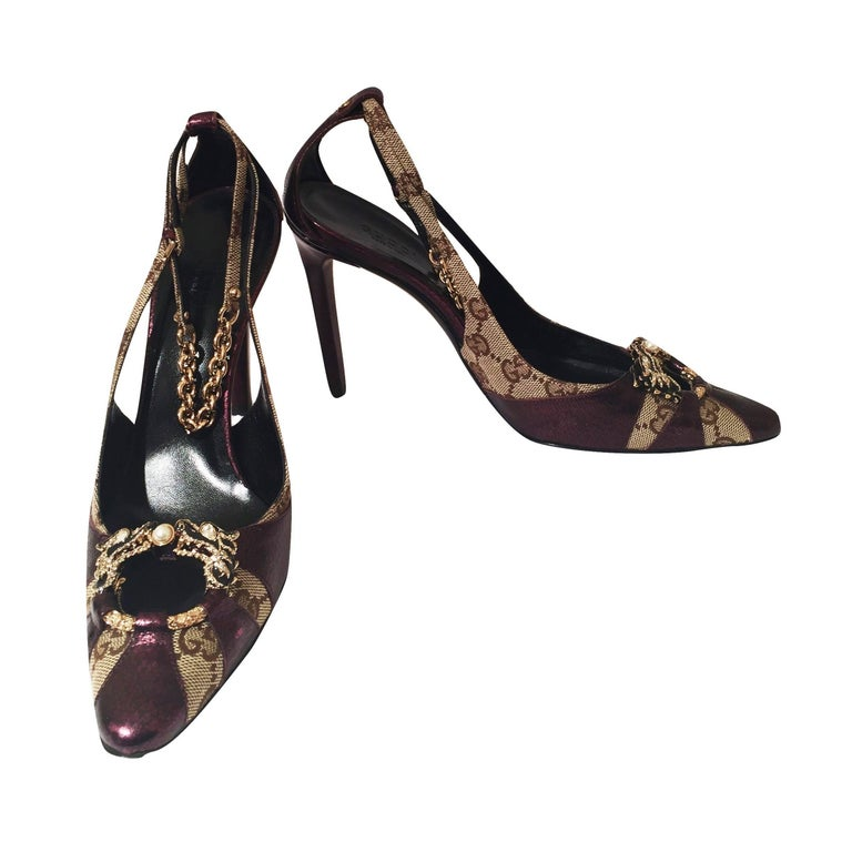 New Tom Ford for Gucci Dragon Ad Runway Heels Pumps Sz 37 For Sale 1