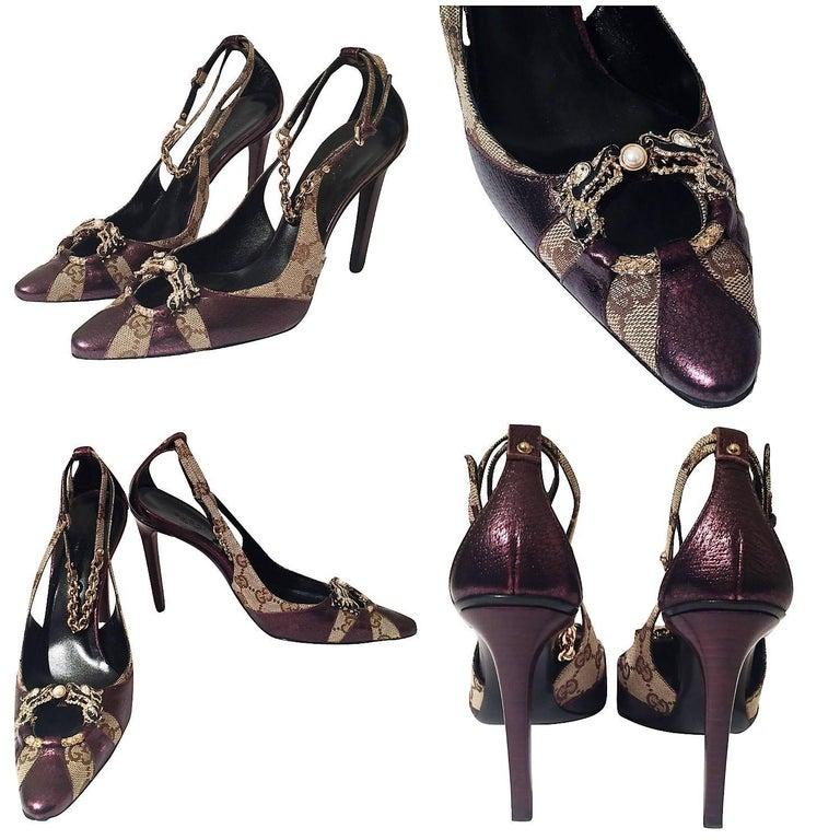 Gucci Tom Ford Heels Brand New & Rare * Famous Tom Ford Era * Own a Piece of Fashion History!  * Size: 37 * Crystal Dragon at Toe * Beige GG Canvas   * Purple Leather * Adjustable Chain Ankle Strap  * 4