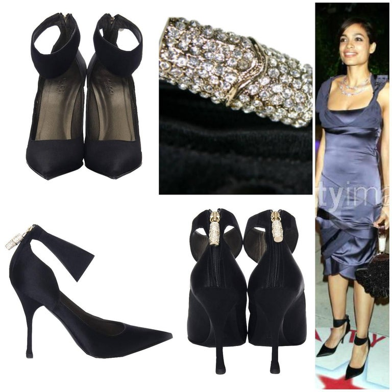 Black New Tom Ford for Gucci Swarovski Rosario Dawson Ad Runway Heels Pumps Sz 7 For Sale
