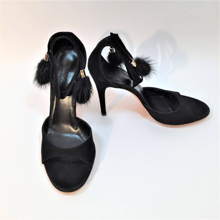New Gucci Mink Suede Heels Pumps Size 9 For Sale 4
