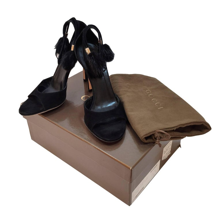 New Gucci Mink Suede Heels Pumps Size 9 For Sale 3