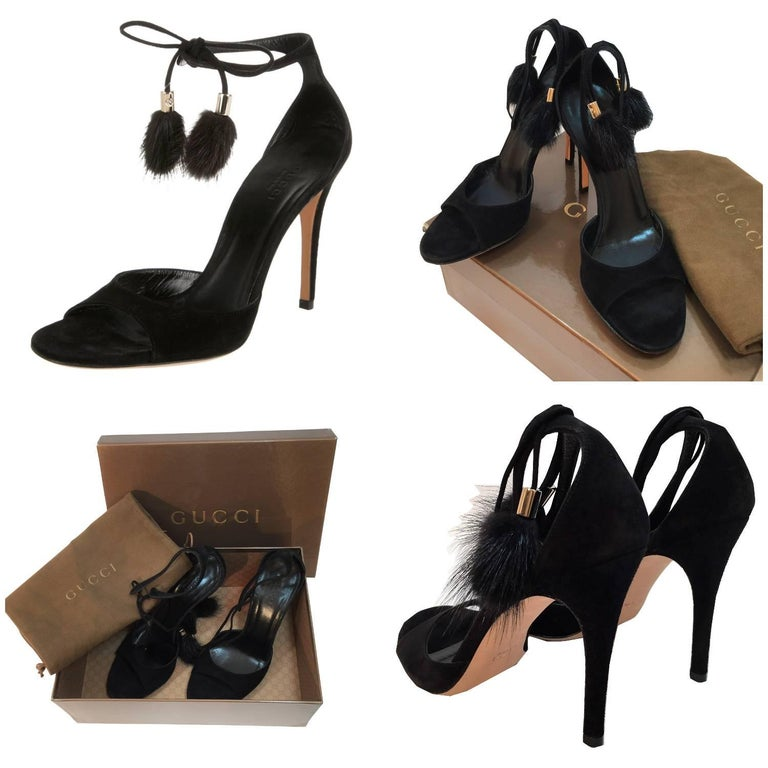 Gucci Mink Suede Heels Brand New Leather Insole MINK GUCCI GG TASSELS U.S. Size: 9 Black Suede Gold Hardware with GG Logo 4