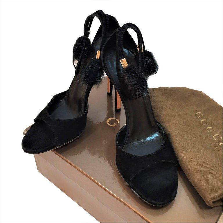 New Gucci Mink Suede Heels Pumps Size 9 For Sale 6