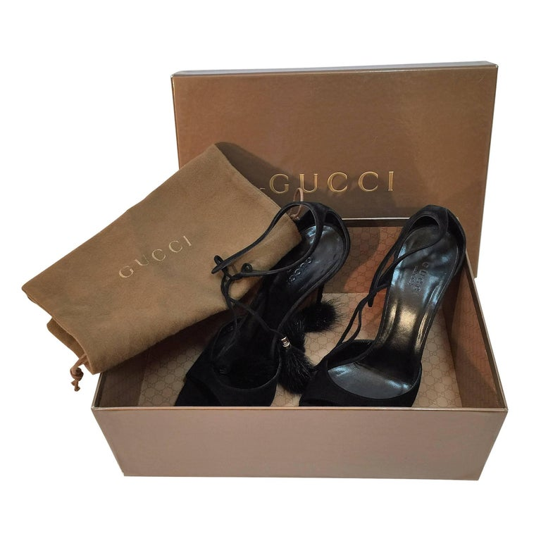 New Gucci Mink Suede Heels Pumps Size 9 For Sale 1