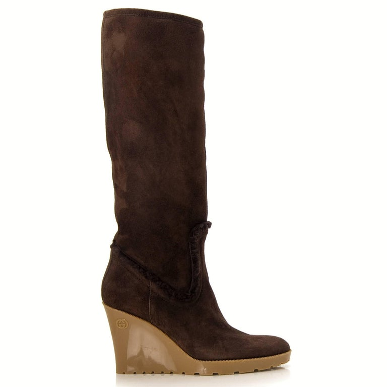 New Size 8 Gucci Chocolate Brown Shearling Wedge Boots For Sale 3