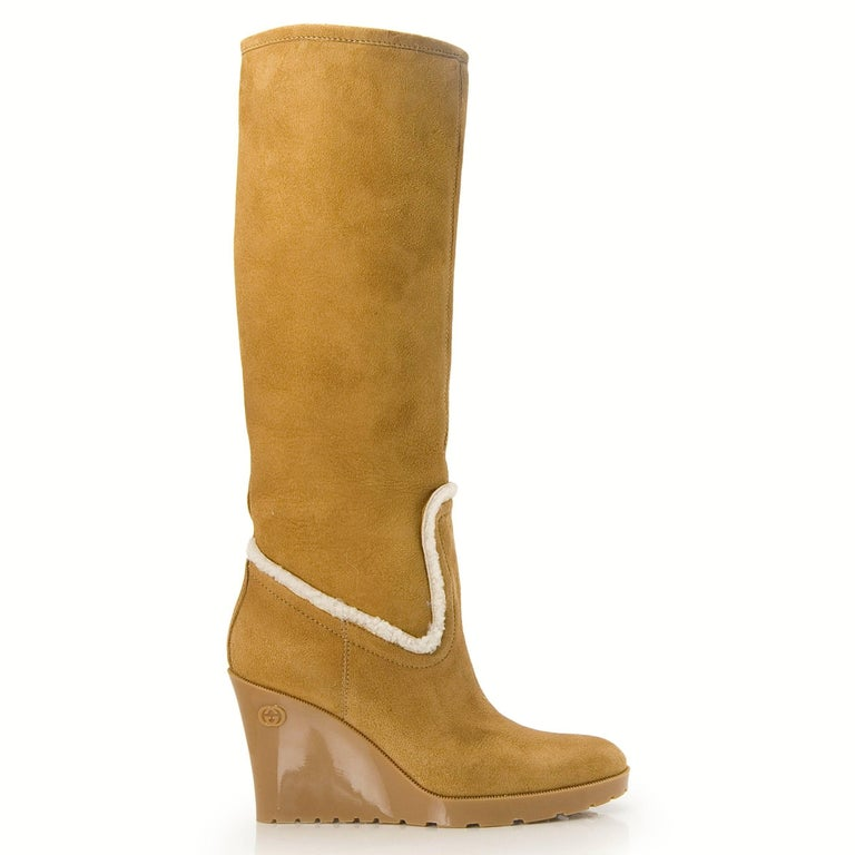 Gucci New Camel Lambskin Shearling Wedge Boots For Sale 1