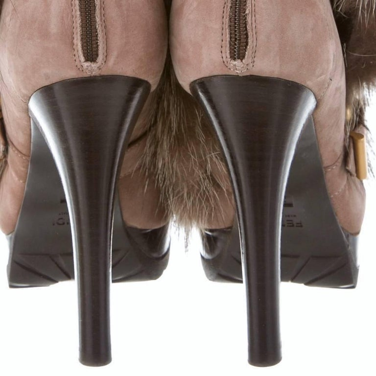 New Fendi Ad Runway Fur and Suede Platform Boots Booties Sz 37 For Sale 4