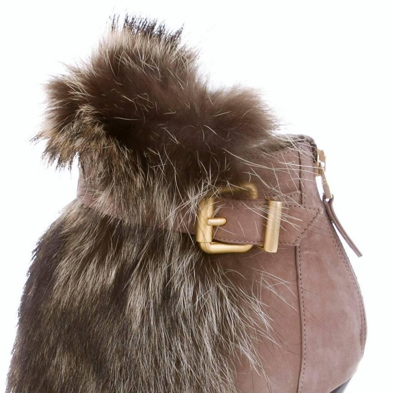 Women's New Fendi Ad Runway Fur and Suede Platform Boots Booties Sz 37 For Sale
