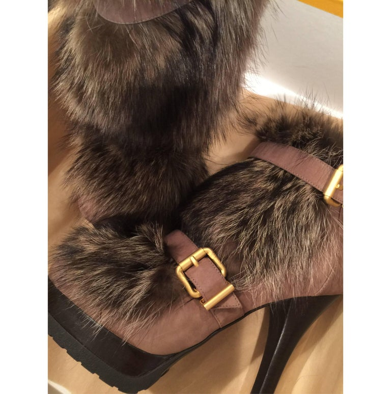 New Fendi Ad Runway Fur and Suede Platform Boots Booties Sz 37 For Sale 10