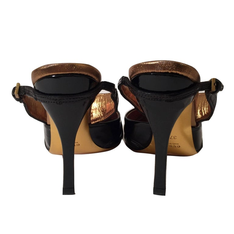 Gucci Patent and Crocodile Heels Mules  For Sale 7