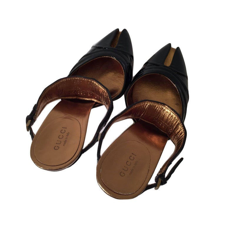 Gucci Patent and Crocodile Heels Mules  For Sale 3