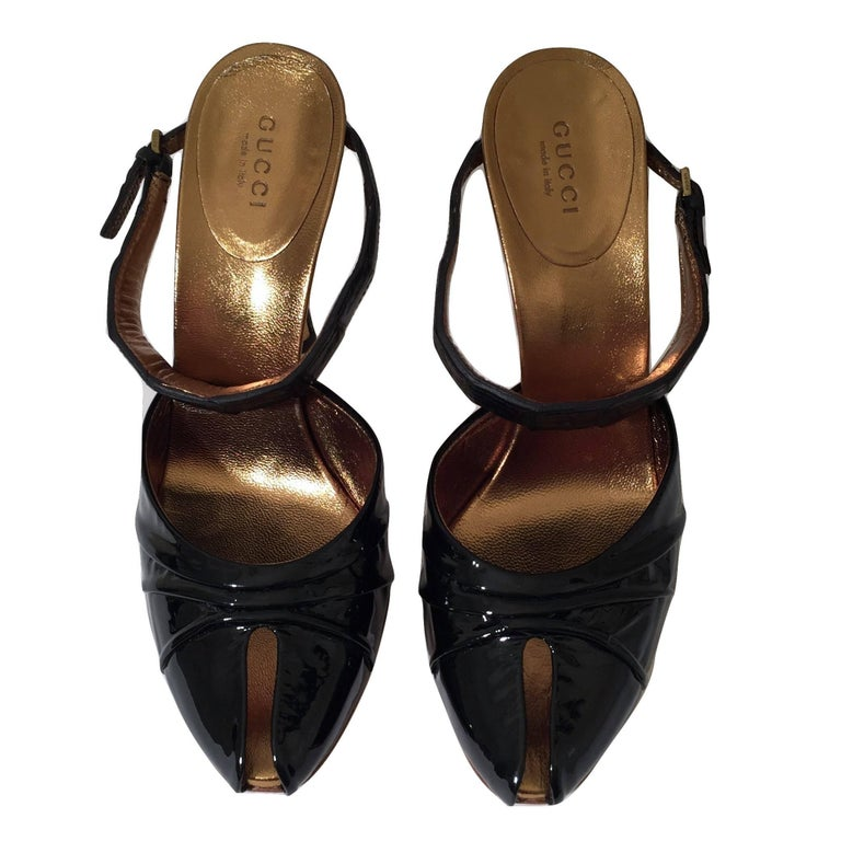 Gucci Patent and Crocodile Heels Mules  For Sale 10