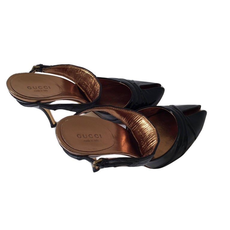 Gucci Patent and Crocodile Heels Mules  For Sale 2