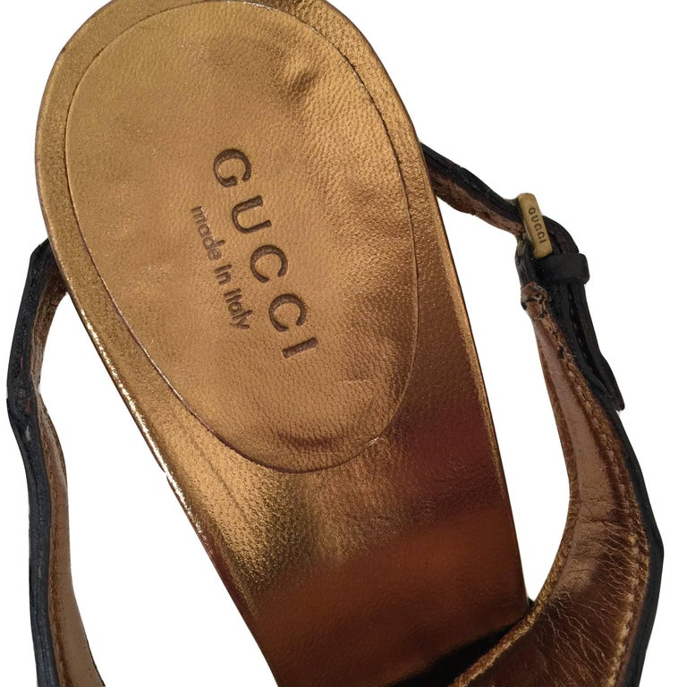 Gucci Patent and Crocodile Heels Mules  For Sale 8