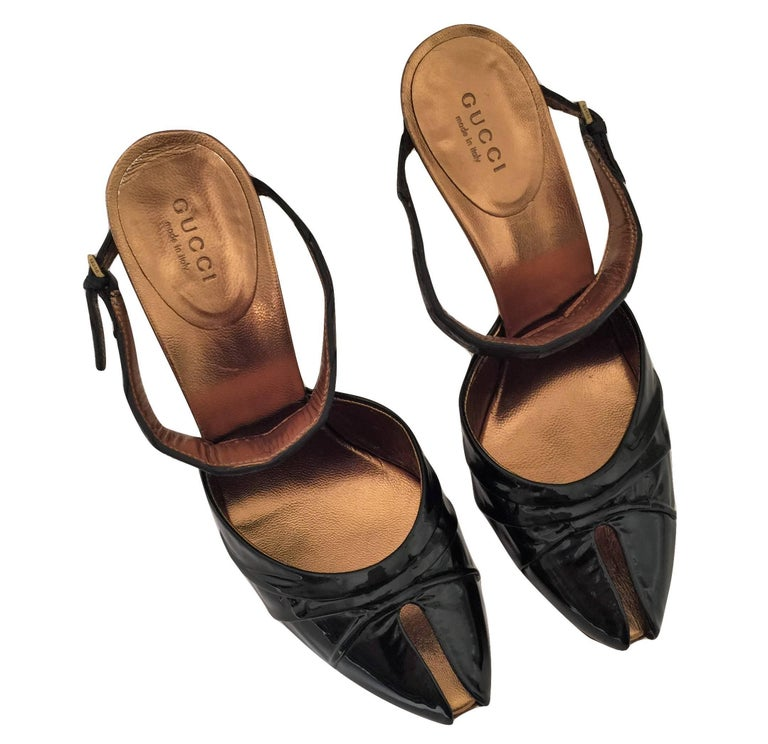 New Size 37 Gucci Patent & Crocodile Heels Mules  For Sale 11