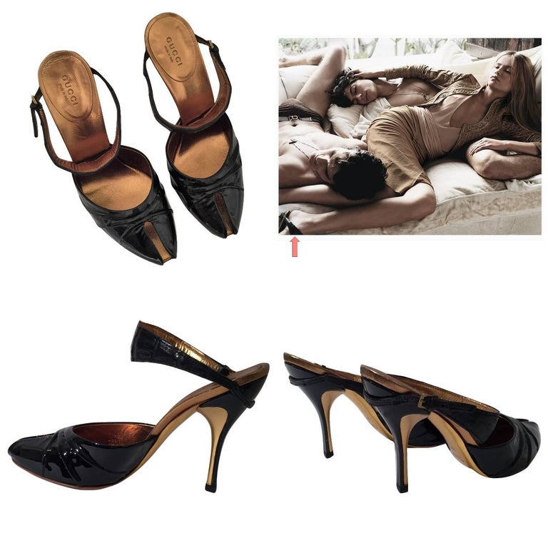 Black Gucci Patent and Crocodile Heels Mules  For Sale