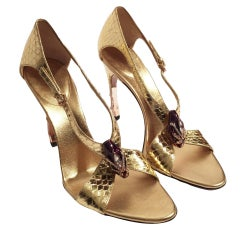 New Size 7 Rare Tom Ford for Gucci Python Snake Head Ad Runway Heels