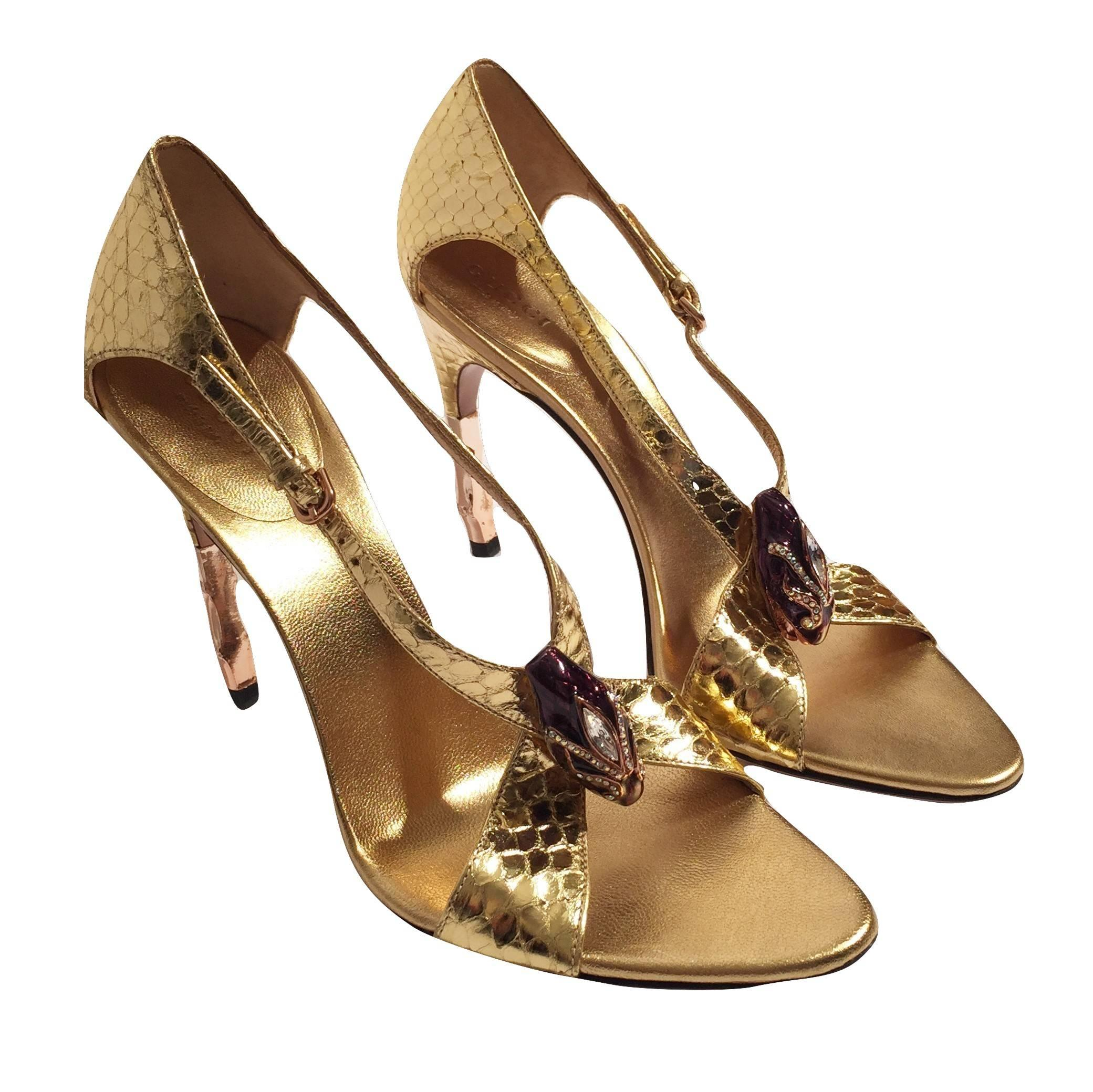 0ff920a88d9 New Tom Ford for Gucci Python Snake Head Ad Runway Heels Sz 7 For Sale at  1stdibs