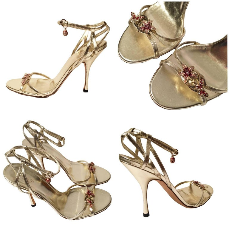 Lt. Edition Gucci Heels Brand New * Stunning in Gold Leather * Flower & Butterfly Jeweled Toe * Lady Bug Dangle Jewel * Size: 9.5 * Adjustable Ankle Strap  * Leather Insole * 4.5