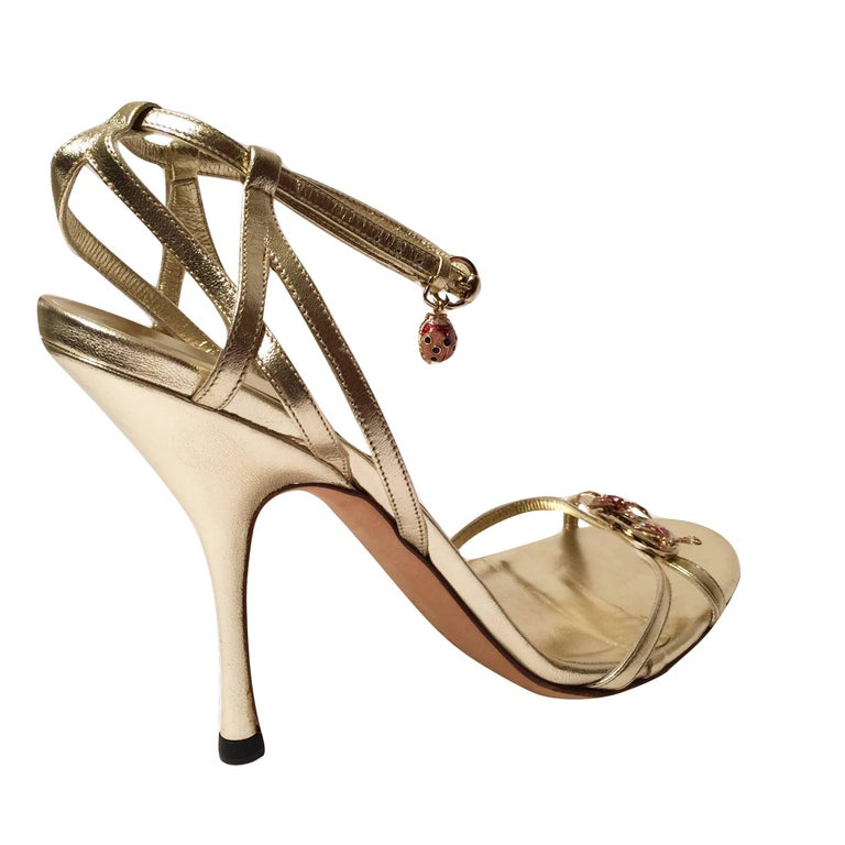 New Gucci Ltd Edition Collection Runway Gold Jeweled Heels Sz 9.5 For Sale 1