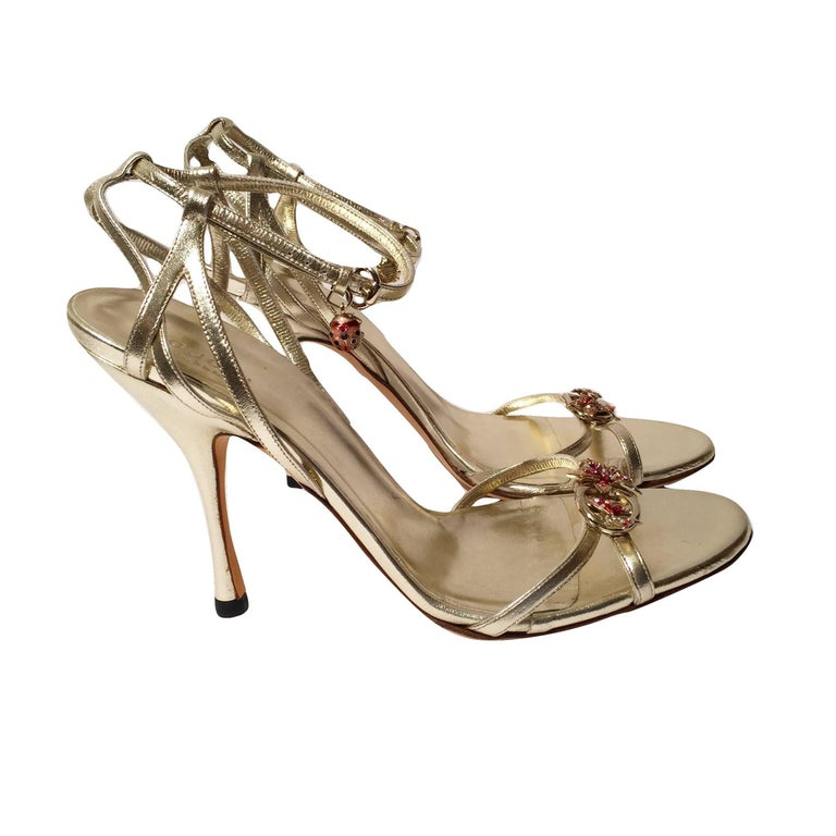 New Gucci Ltd Edition Collection Runway Gold Jeweled Heels Sz 9.5 For Sale 3