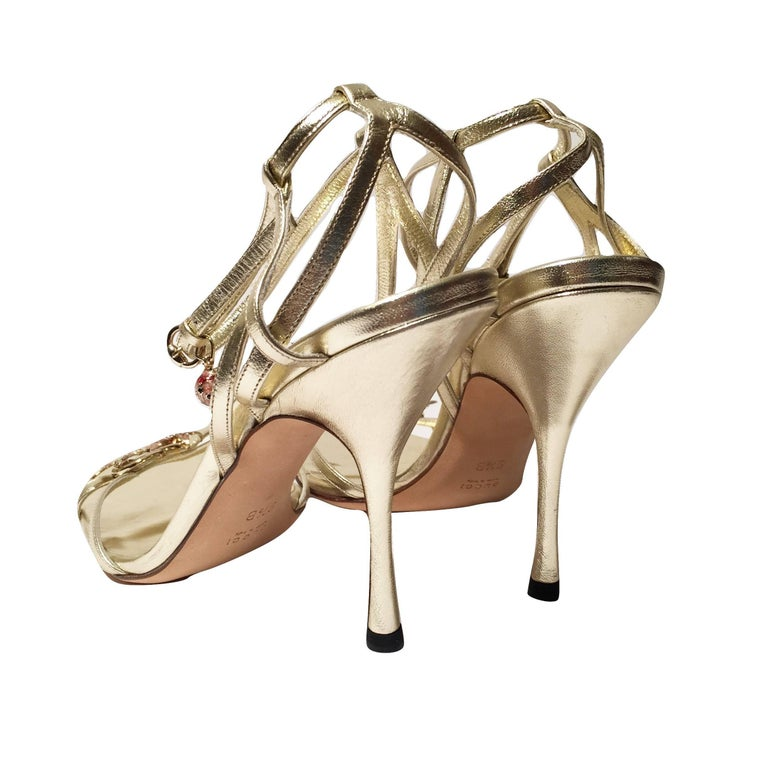 New Gucci Ltd Edition Collection Runway Gold Jeweled Heels Sz 9.5 For Sale 7