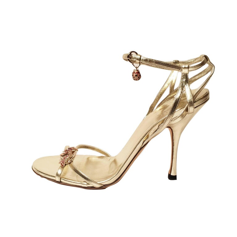 New Gucci Ltd Edition Collection Runway Gold Jeweled Heels Sz 9.5 For Sale 8