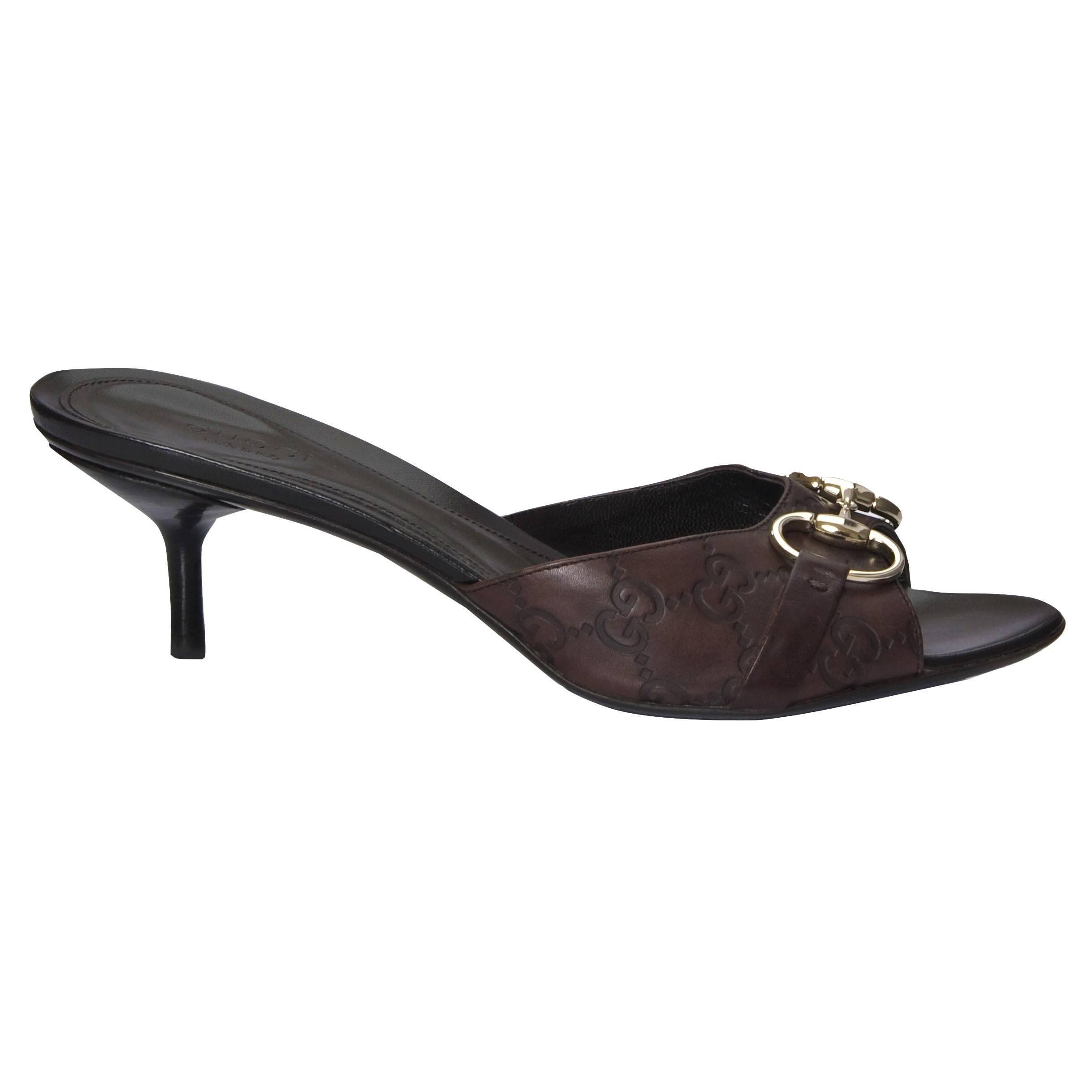 3c770af31c1 Gucci Size 7.5 Guccissima Horsebit Heels Slides Mules at 1stdibs