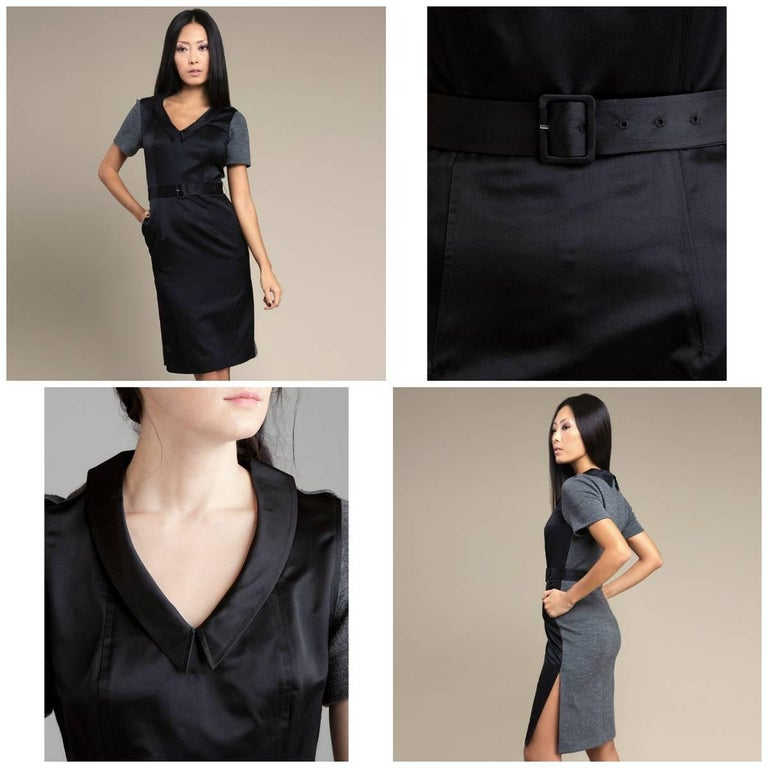 Vera Wang Lavender Label Brand New with Tags Shell 1 (Front) 60% Silk/40% Rayon Shell 2 (Back) 100% Wool Grey Wool Back  Adjustable Belt Two Side Pockets V-Neck With Pointed Collar We are happy to provide measurements upon request