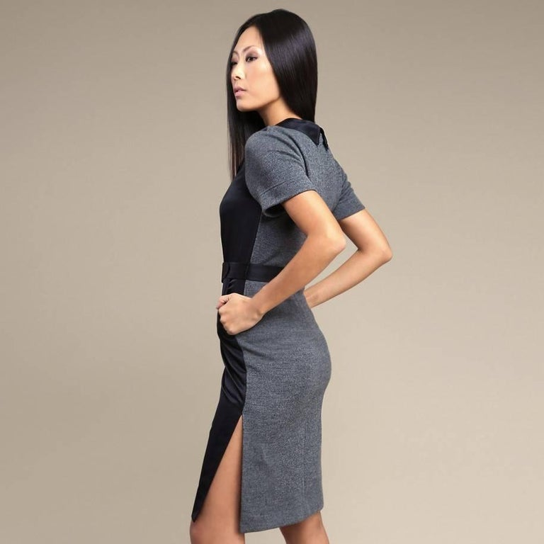 Vera Wang Lavender Label Silk and Knit Cocktail Day Dress Sz 8 In New Condition For Sale In Leesburg, VA