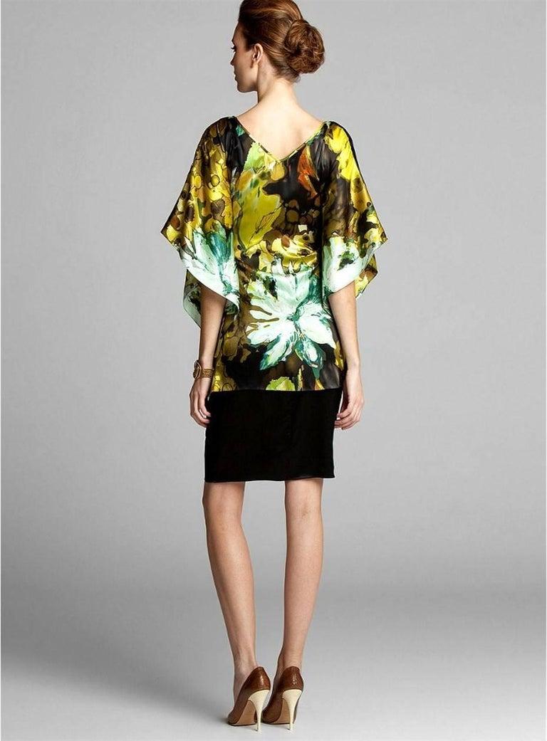 Women's New Badgley Mischka New Couture Silk Cocktail Dress Sz 6 For Sale