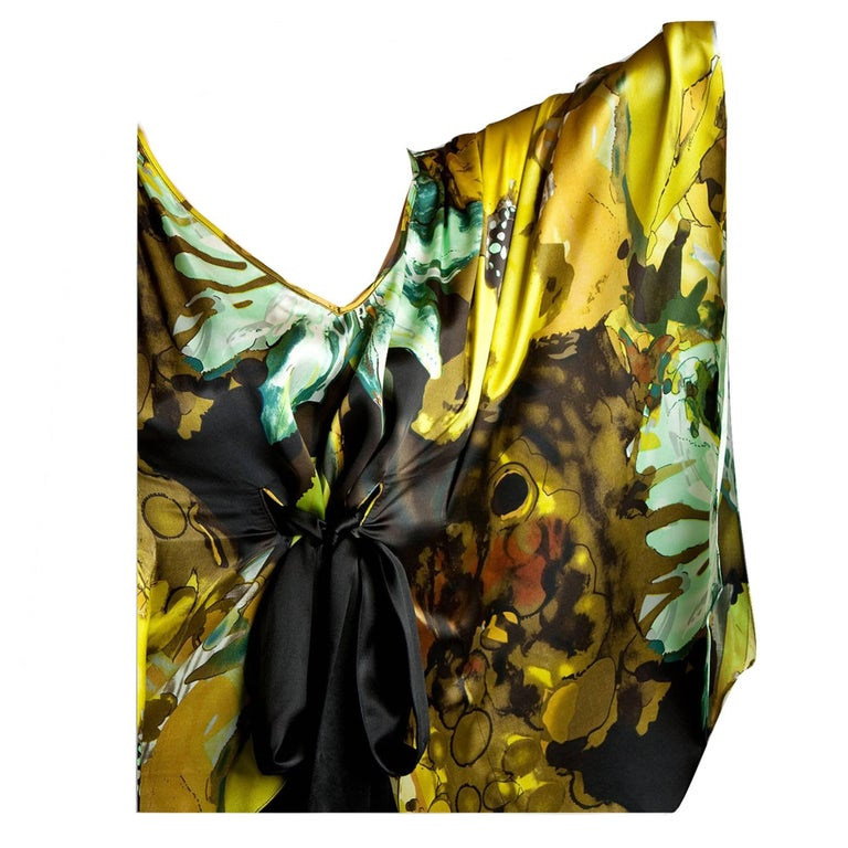 New Badgley Mischka New Couture Silk Cocktail Dress Sz 6 For Sale 2