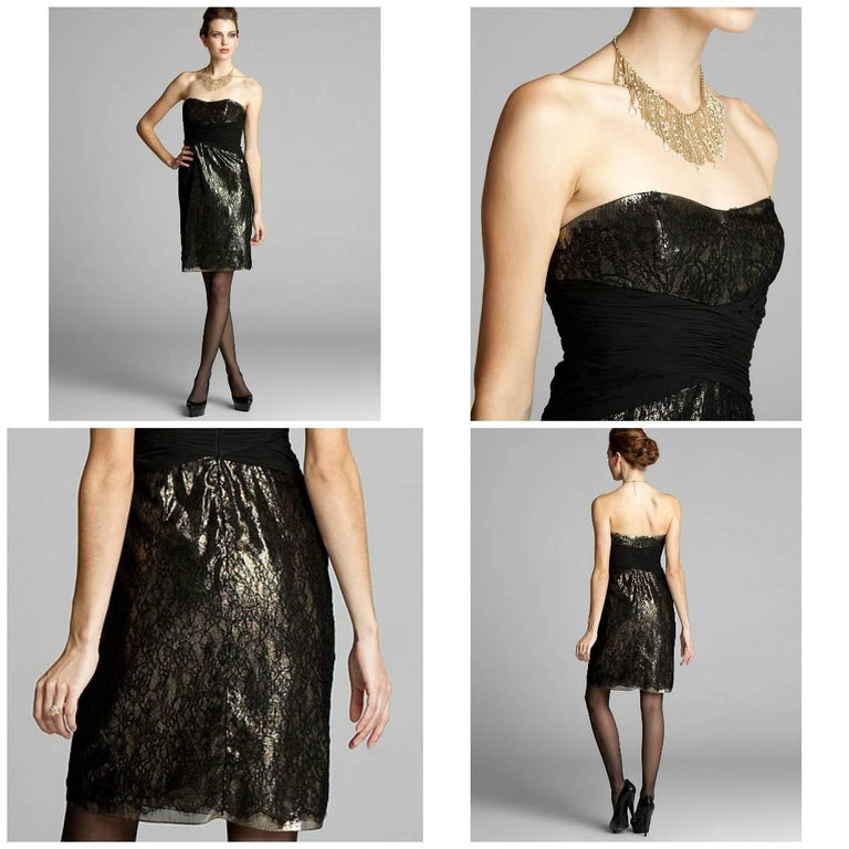 Badgley Mischka Dress Brand New with Tags Black and Gold Lame' Dress Strapless with Boning at Bodice for Support Black Lace over Gold Lame' Fully Lined Center Back Zipper Closure Shell: 63% Silk, 37% Metallic  Lining: 100% Polyester We are happy to