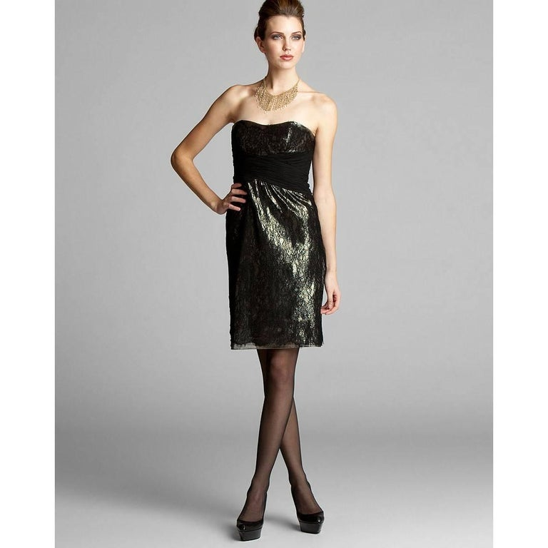 Gray Badgley Mischka New Couture Black Lace and Gold Lame Cocktail Dress  For Sale