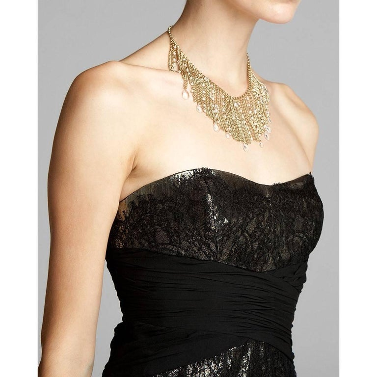 Women's Badgley Mischka New Couture Black Lace and Gold Lame Cocktail Dress  For Sale