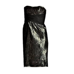 New Size 2 Badgley Mischka Couture Black Lace & Gold Lame' Cocktail Dress