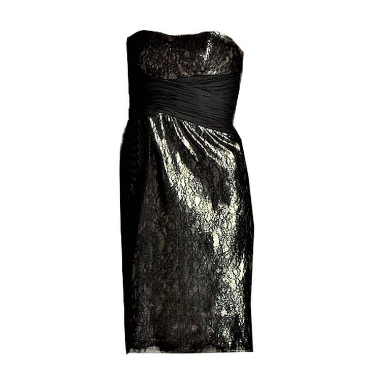 Badgley Mischka New Couture Black Lace and Gold Lame Cocktail Dress