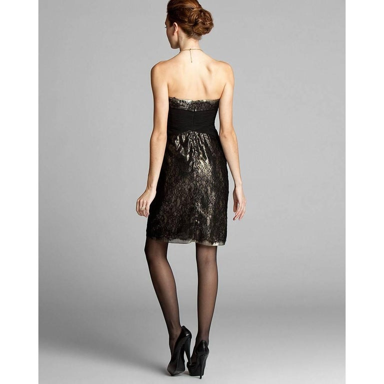 Badgley Mischka New Couture Black Lace and Gold Lame Cocktail Dress  In New Condition For Sale In Leesburg, VA