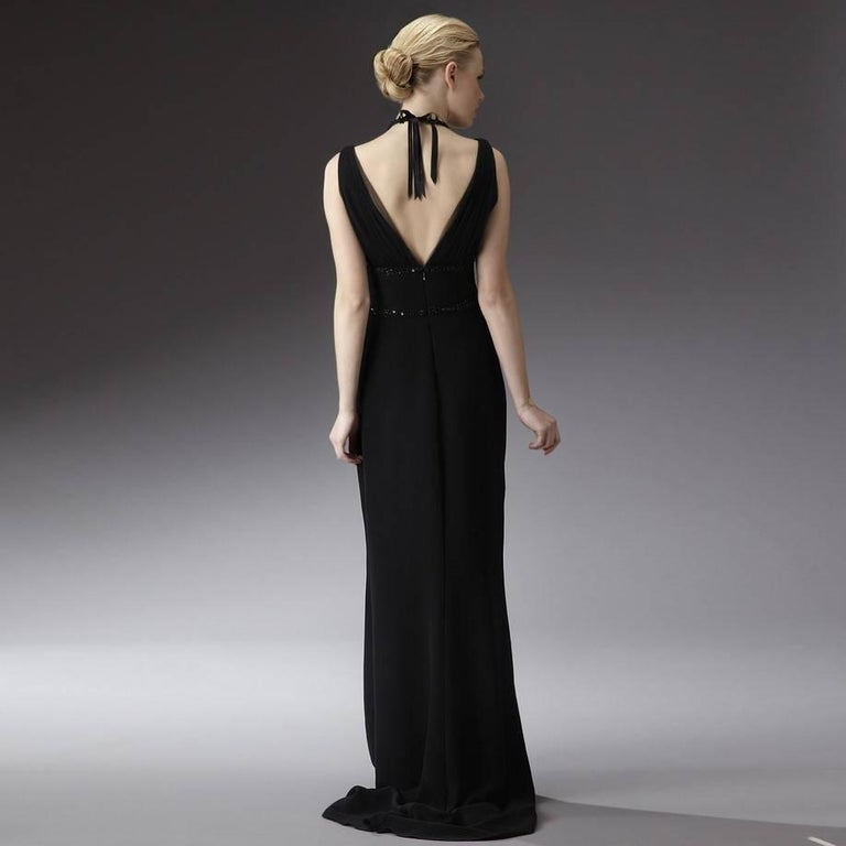 Black New Badgley Mischka Couture Beaded Evening Dress Gown Sz 4 For Sale
