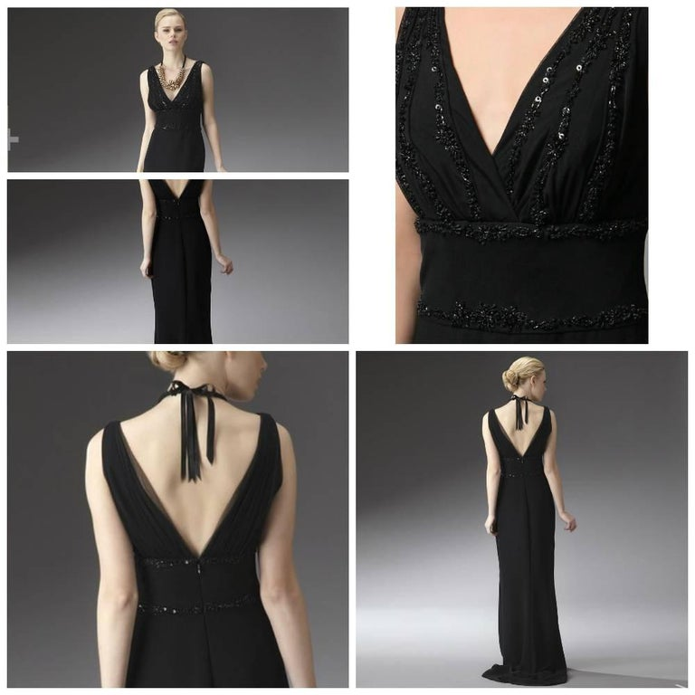 New Badgley Mischka Couture Beaded Evening Dress Gown Sz 4 In New Condition For Sale In Leesburg, VA