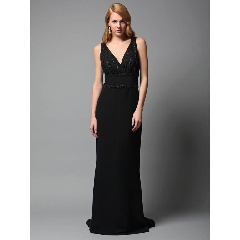Women's New Badgley Mischka Couture Beaded Evening Dress Gown Sz 4 For Sale