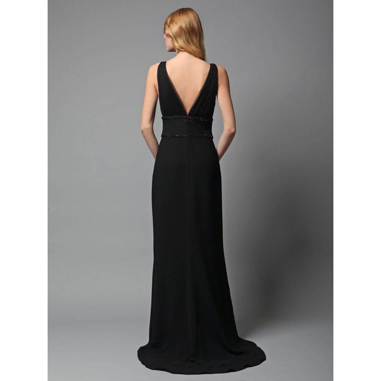 New Badgley Mischka Couture Beaded Evening Dress Gown Sz 4 For Sale 1
