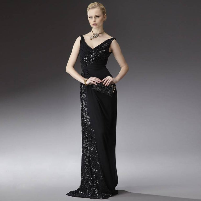 Black New Badgley Mischka New Couture Beaded Evening Dress Gown Sz 4 For Sale