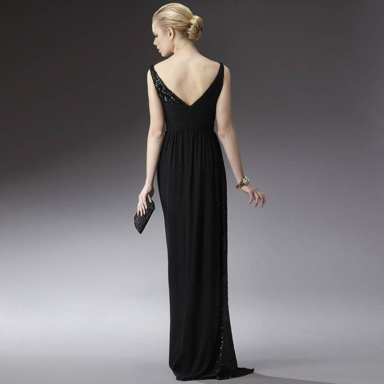 New Badgley Mischka New Couture Beaded Evening Dress Gown Sz 4 In New Condition For Sale In Leesburg, VA