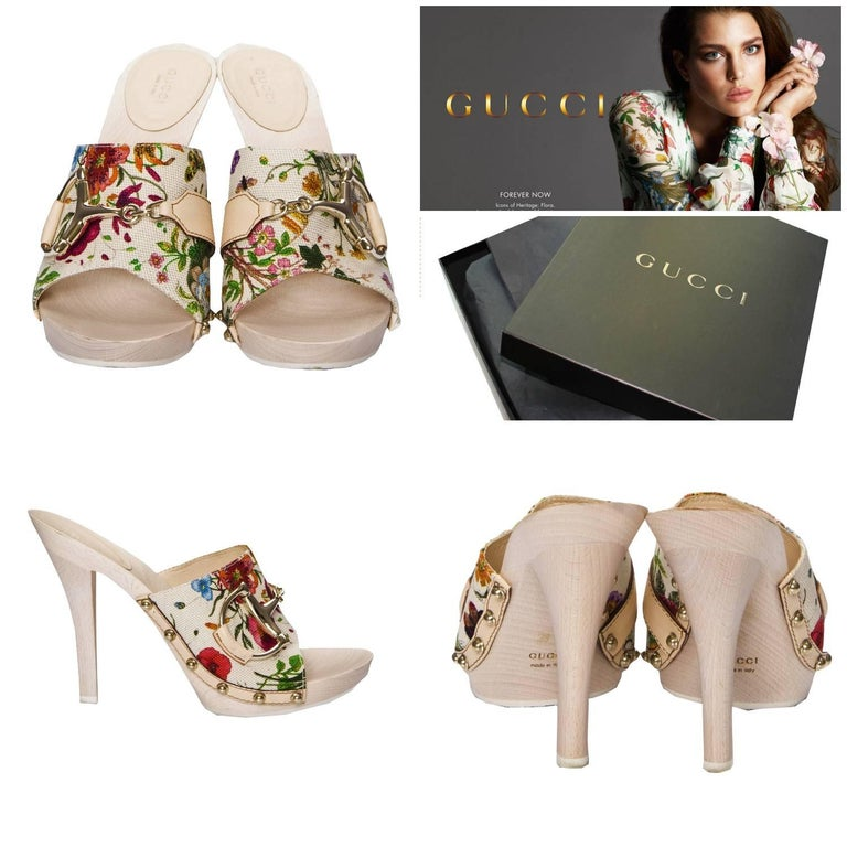 Gucci Flora Horsebit Mules Brand New *Euro: 39   *Iconic Flora Canvas *Gold & Leather Horsebit *Gold Grommets on Sides *Wood Platform Heel *1/2
