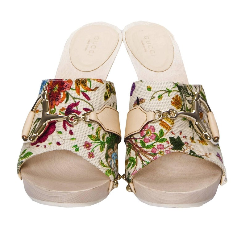 New Gucci Flora Horsebit Mules Heels Pumps Floral Sz 39 In New Condition For Sale In Leesburg, VA