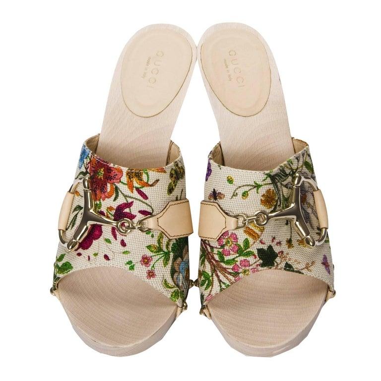 New Gucci Flora Horsebit Mules Heels Pumps Floral Sz 39 For Sale 3
